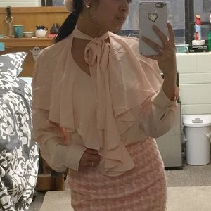 Peach Pink Chicwish Tie Neck Pussybow Blouse Top